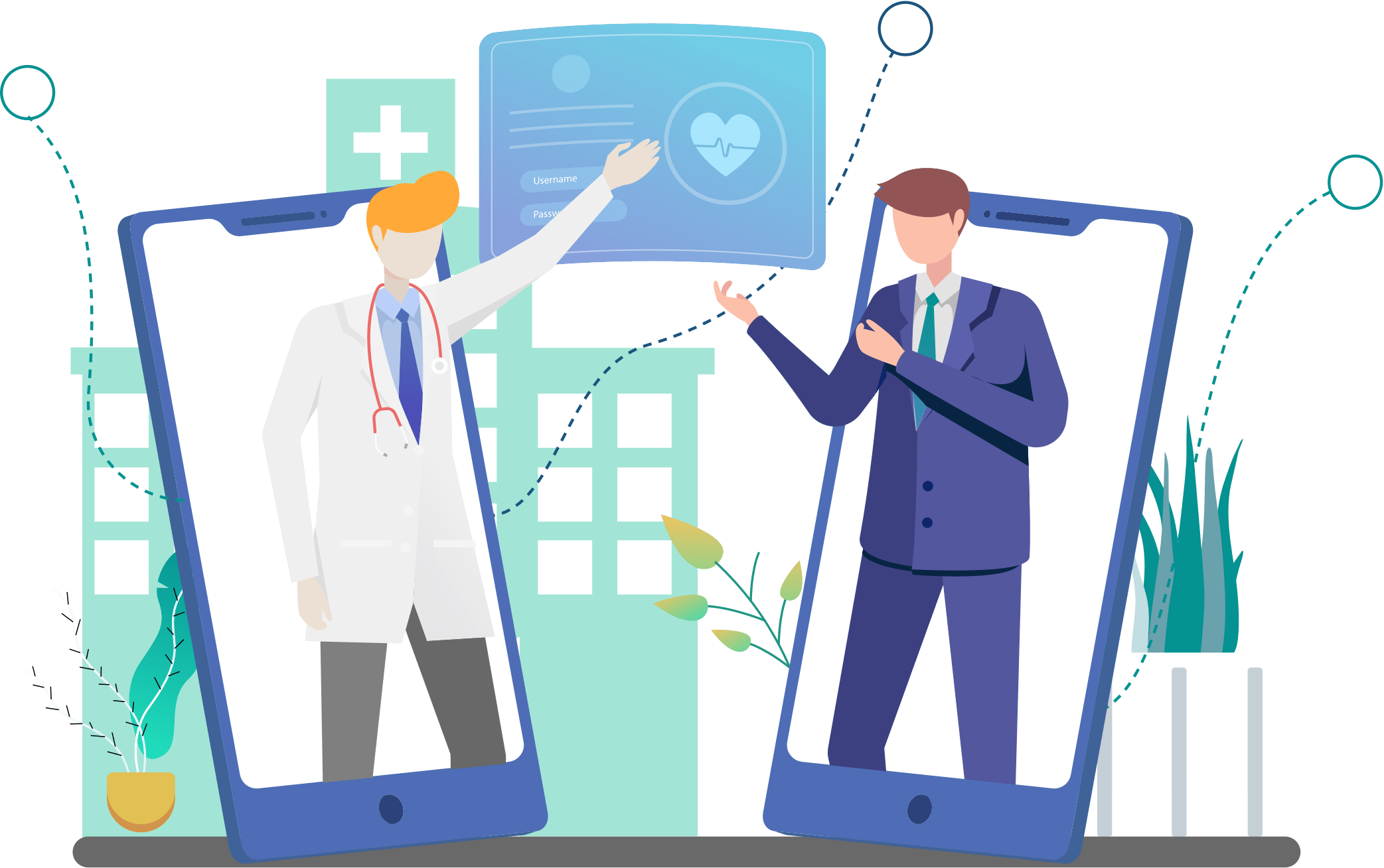 Illustration: A doctor and a sales person